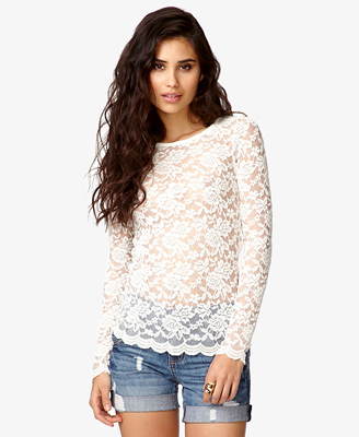 Scalloped Lace Top Forever21 2043619413