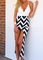 Lace decorated stripe split maxi dress
