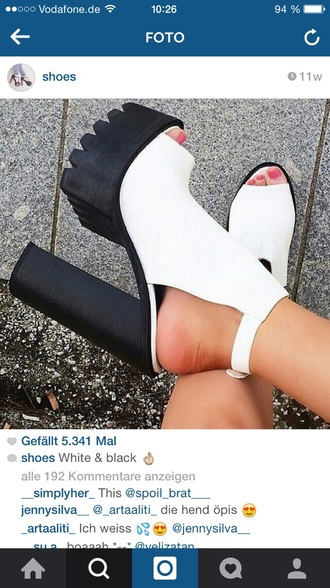 shoes white black platform shoes chunky heel