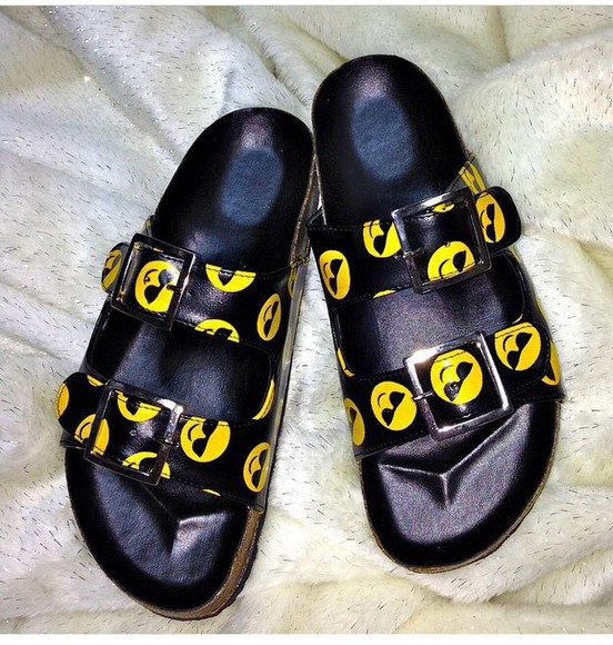 smiley face emojii sandals shoes sunglasses