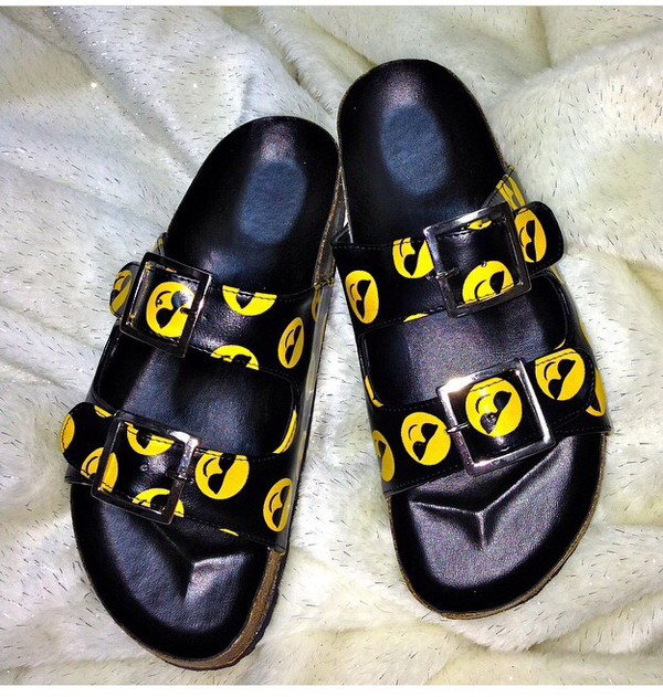 smiley emojii sandals shoes sunglasses