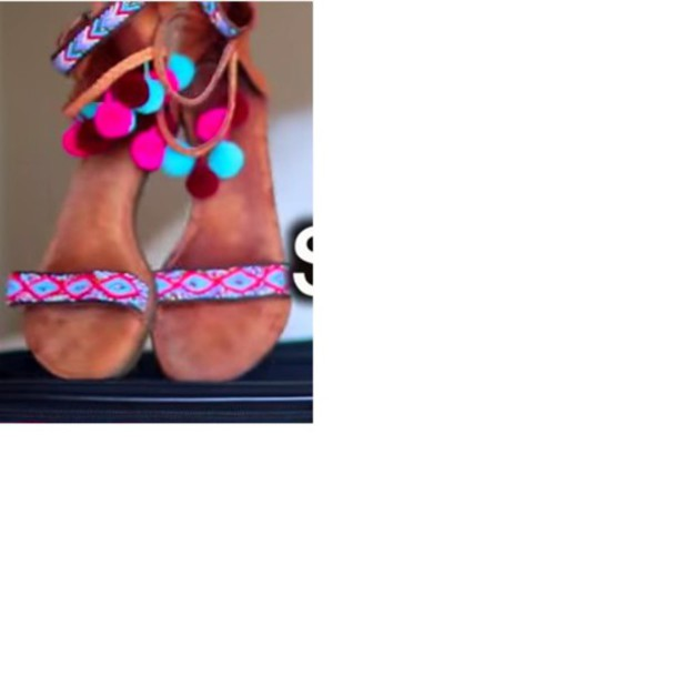 shoes colorful sandals colorful sandals cute cute sandals girly hipster tribal pattern tribal pattern light blue blue pink red pompons