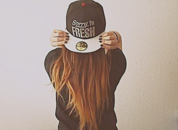 Hat Cap Tumblr Girl Style Swag Long Hair Cool Black