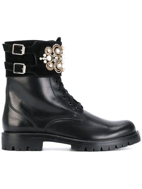 René Caovilla women leather black shoes