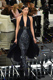 dress,bella hadid,model,runway,fashion week 2017,haute couture,chanel,gown,prom dress,plunge v neck,plunge dress,belt,fashion week