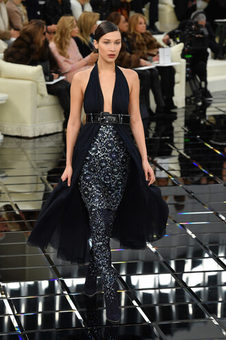 dress bella hadid model runway fashion week 2017 haute couture chanel gown prom dress plunge v neck plunge dress belt fashion week