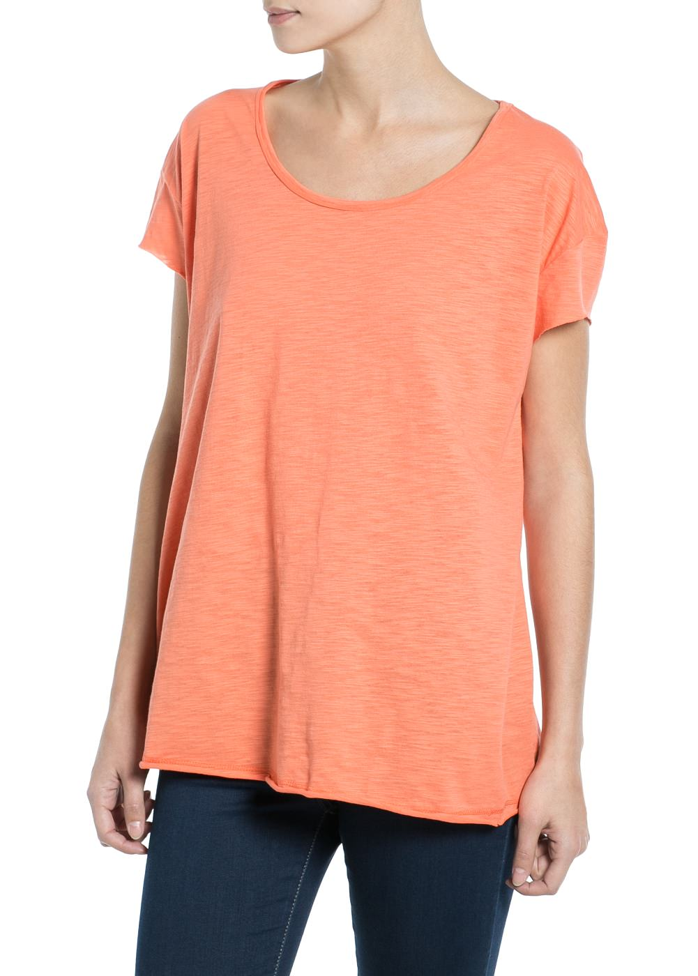 Slub-cotton t-shirt -  							  							Women - 							MANGO