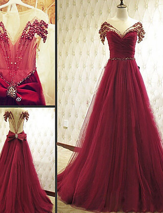 dress red dress gown prom dress wedding clothes beautiful