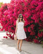 dress,tumblr,midi dress,white dress,white lace dress,lace dress,sleeveless,sleeveless dress,pumps,pointed toe pumps,bow heels,round sunglasses,bag,nude bag,summer dress,shoes,sunglasses