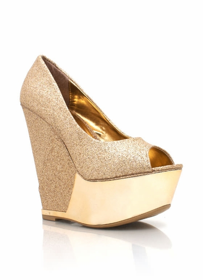 GJ | Peep-Toe Wedges $35.90 in BLACK GOLD SILVER - Wedges | GoJane.com
