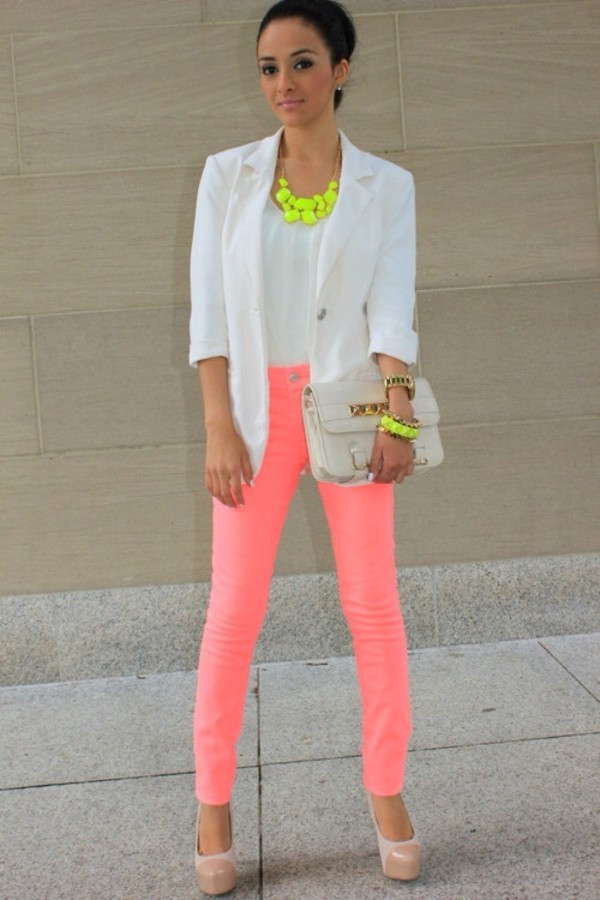 jeans neon pink pink pants pink skinny pants long pants bag jacket jewels pants shoes t-shirt womans blazer white neon necklace