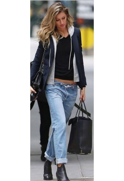 shoes bag shirt jeans gisele bündchen jacket