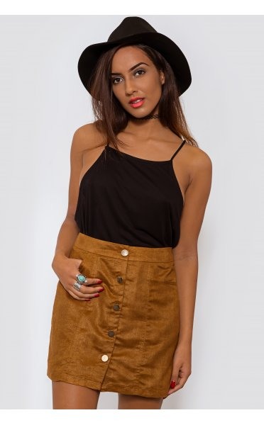 Brown Suede Mini Skirt - from The Fashion Bible UK