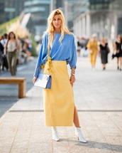 skirt,midi skirt,side split,yellow skirt,white boots,blouse,shoulder bag