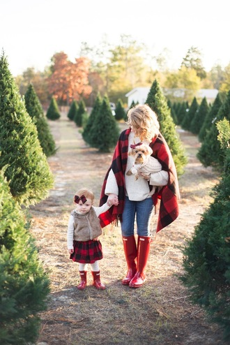 something delightful blogger sweater shoes jewels shirt jacket skirt winter outfits mother and child tartan scarf wellies red boots