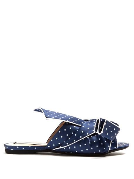 No. 21 bow print satin blue shoes