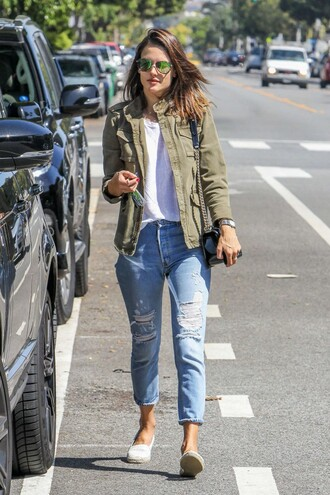 jacket alessandra ambrosio spring outfits model off-duty streetstyle khaki bomber jacket army green jacket pocket jacket ripped jeans blue jeans jeans denim celebrity style celebrity model sunglasses white top top espadrilles white shoes bag patent leather bag patent bag