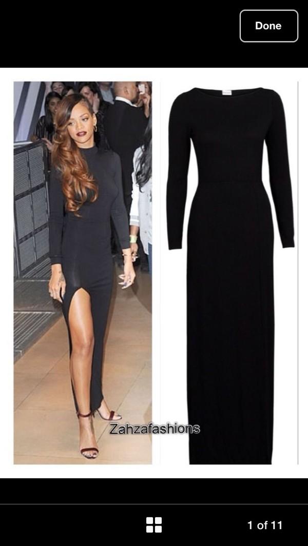 dress black dress maxi dress slit bodycon