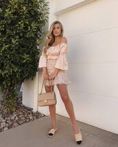 top,off the shoulder,mini skirt,bag,casual,chanel espadrilles
