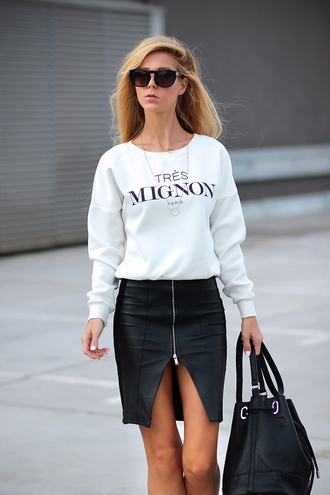 sirma markova blogger jewels bag sunglasses zip up zip quote on it leather bag sweater skirt shoes shorts
