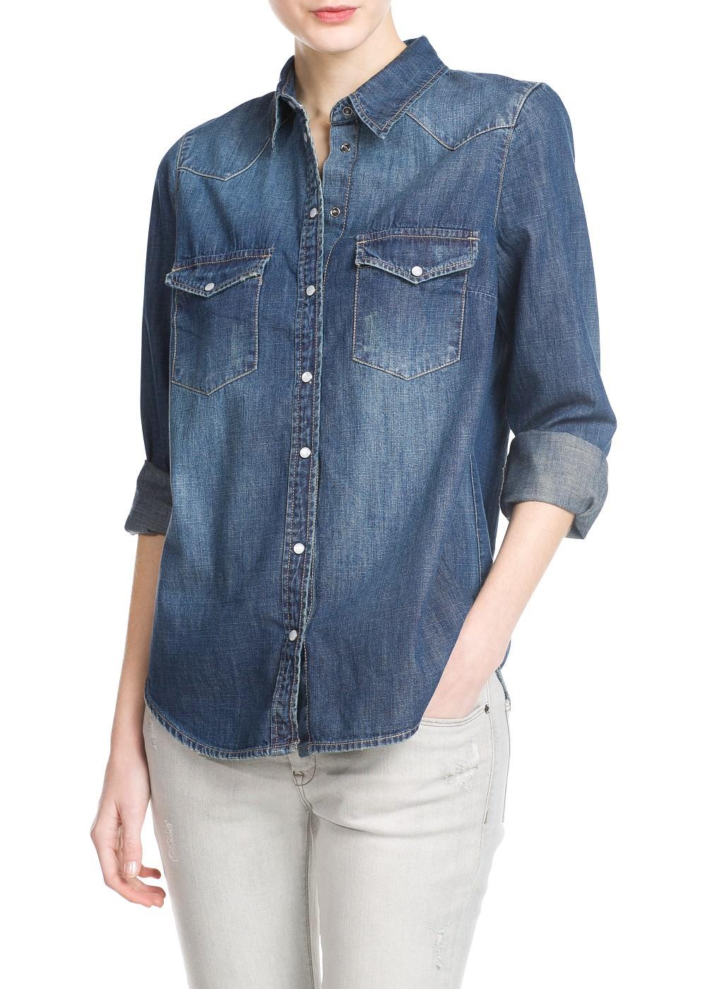 Dunkles jeanshemd kleider damen mango - Jeanshemd damen lang ...
