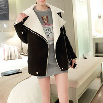 zipper coat lapel lose