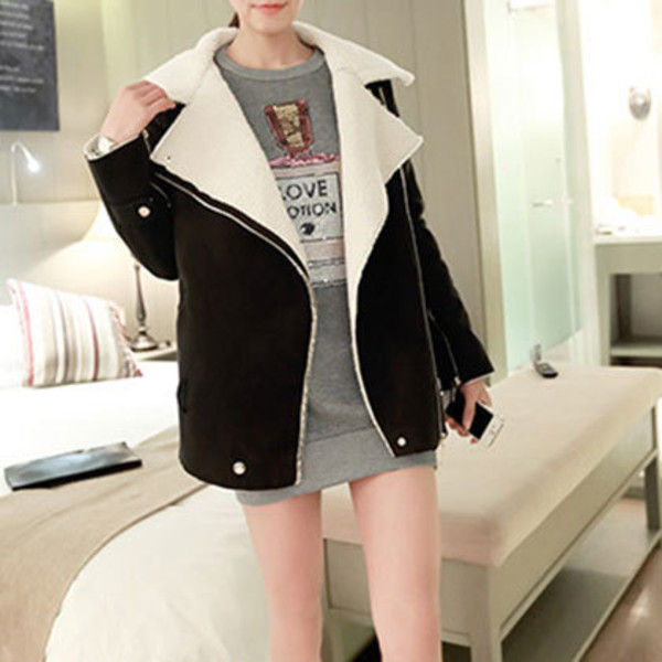 coat zip lapel lose