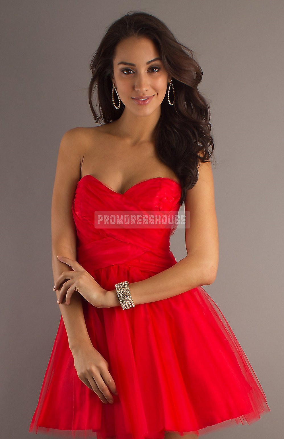 Red Baby Doll Tulle Pleated Sweetheart Short Length Prom Dress - Promdresshouse.com