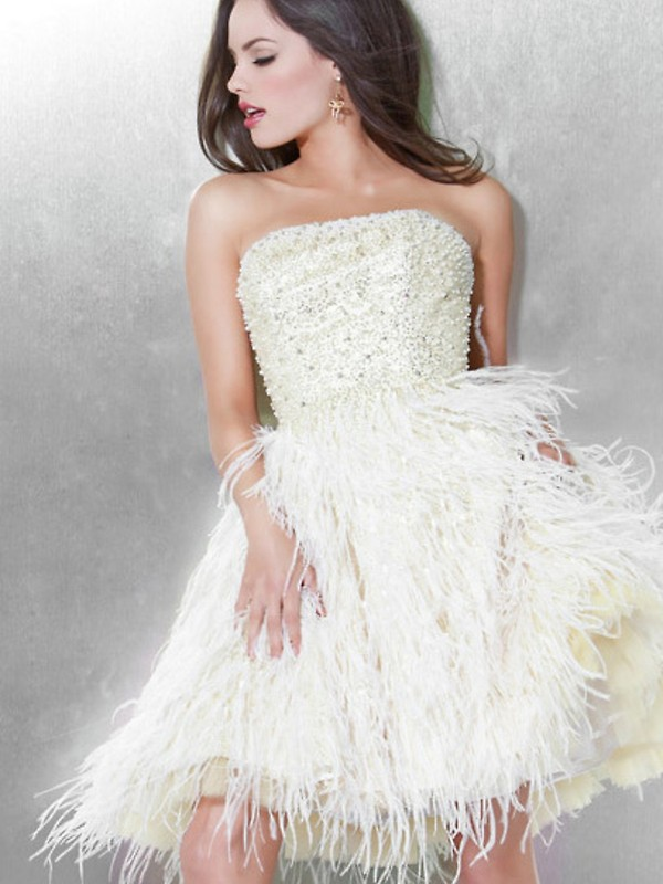 dress beaded prom cocktail dress cocktail evening dress short white feathers