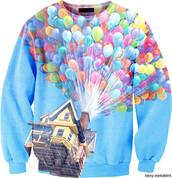 blue sweater,up,disney,sweater,balloons,tumblr,disney sweater