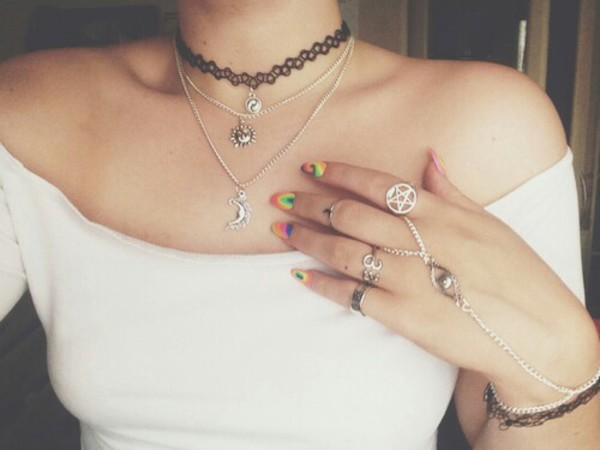 jewels ring moon sun necklace choker necklace nail accessories ring cool