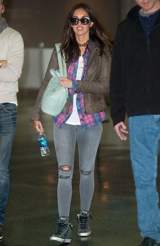 shirt denim jeans megan fox jacket