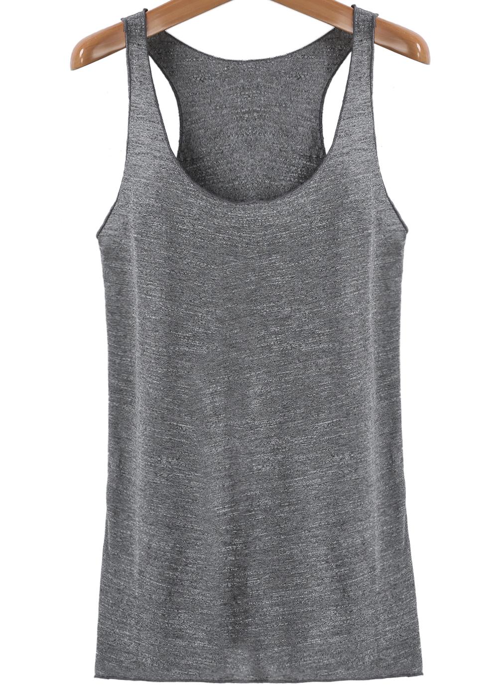 Grey Casual Sleeveless Slim Vest - Sheinside.com