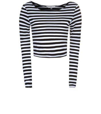 Monochrome Stripe Long Sleeve Crop Top