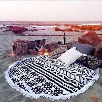 home accessory black and white circle beach mat tapestry blanket beach