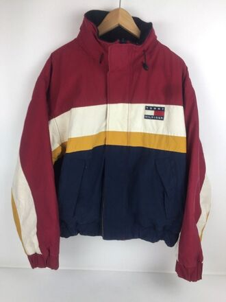 jacket tommy hilfger jacket colour block colorblock red white yellow blue vintage vintage tommy hilfiger tommy hilfiger