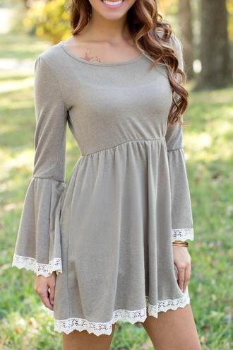 dress fashion grey cute trendy lace girly kawaii stylish gray long sleeve lacework dress white
