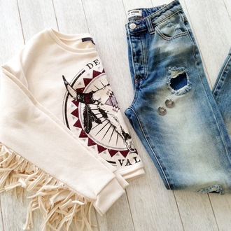 sweater beige tassel skull red jeans blue jeans ripped ripped jeans straight jeans