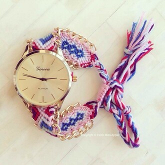 jewels watch geneva summer pretty color/pattern gold boho