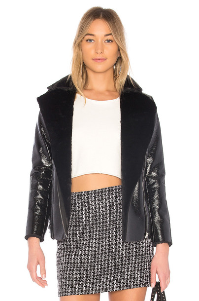 by the way. jacket fur faux fur black