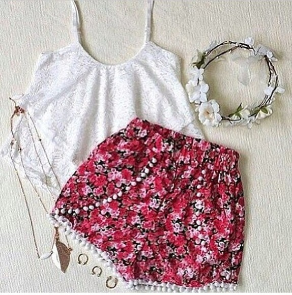 shorts floral shorts vintage red white flower crown