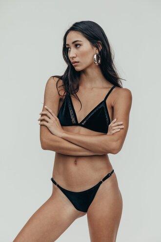 swimwear velvet velvet bikini black swimwear black bikini bikini top bikini bottoms