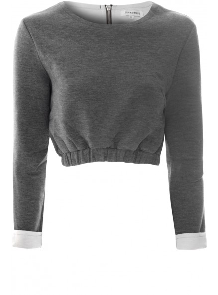Grey and White Ruched Cropped Sweater Top