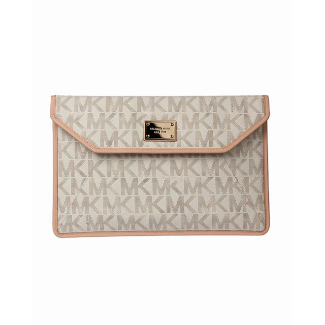 Vanilla MK monogram Michael Kors Slim 13 Macbook Air Sleeve