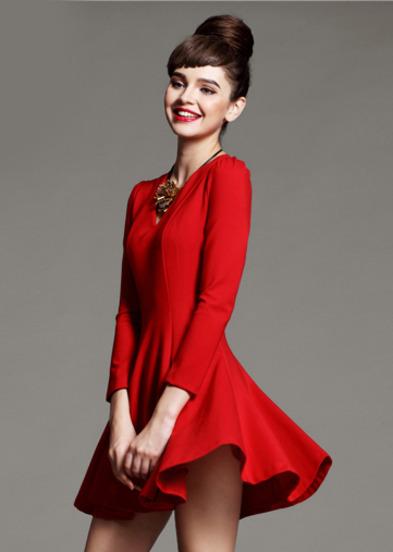 Red V Neck Long Sleeve Ruffle Slim Dress - Sheinside.com