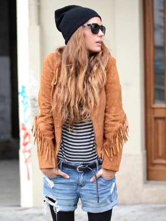 stella wants to die blogger jacket stripes fringes ripped shorts belt