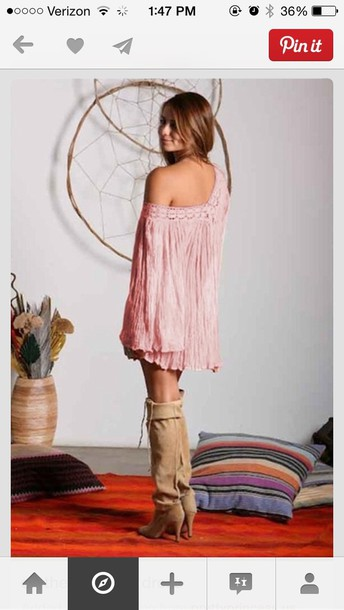 dress pink dress pink hippie mini dress summer dress