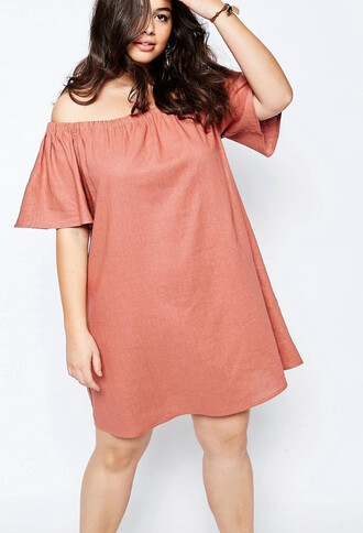 dress off the shoulder bell sleeves curvy peach dress