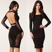 dress,black dress,mesh,mesh dress,open back,open back dresses,elegant dress,classy dress,pencil dress,mesh sleeves,long sleeve dress,cocktail dress