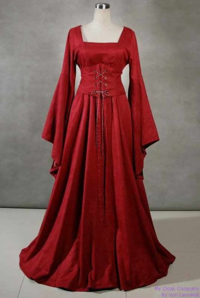 dress vintage medieval wide sleeves corset dress